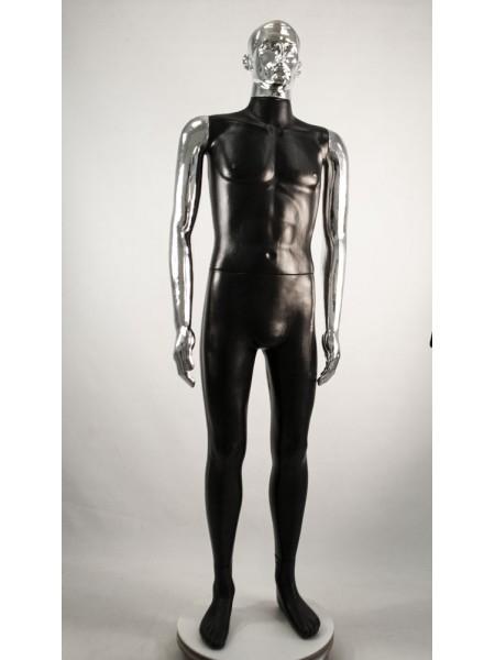 Манекен мужской Сенсей ВГ черный с зеркальными руками  (платина)