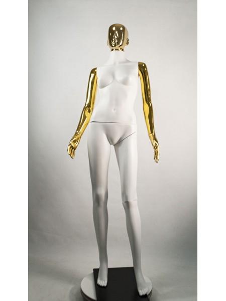 Манекен женский Сиваян белый с хромированными руками и головой Аватар (золото)