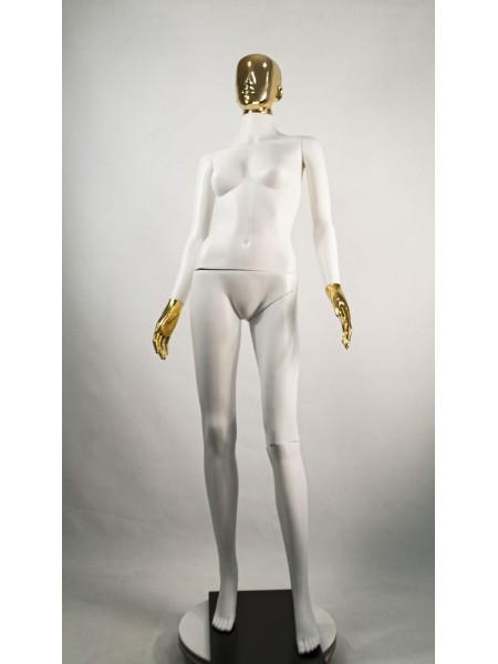Манекен женский Сиваян белый с зеркальными кистями и головой Аватар (золото)