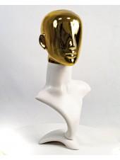 Манекен бюст белый с блестящей головой Аватар  (золото)