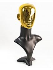Манекен бюст черный с хромированной головой Аватар  (золото)