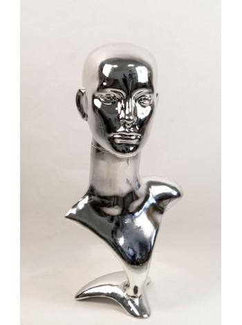Манекен бюст с головой ВГ металлизированный (платина)