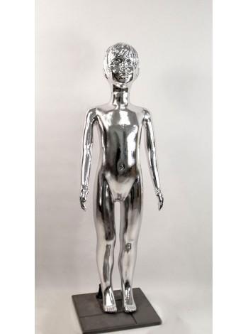 Манекен детский пластиковый девочка в полный рост металлизированный (платина) 120 см