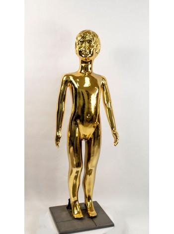 Манекен детский пластиковый девочка в полный рост гальваническое покрытие (золото) 120 см