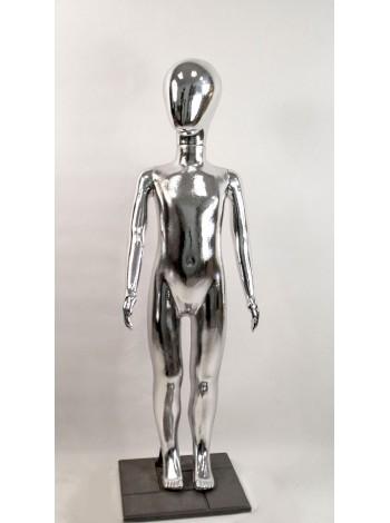 Манекен детский пластиковый безликий в полный рост металлизированный (платина) 120 см