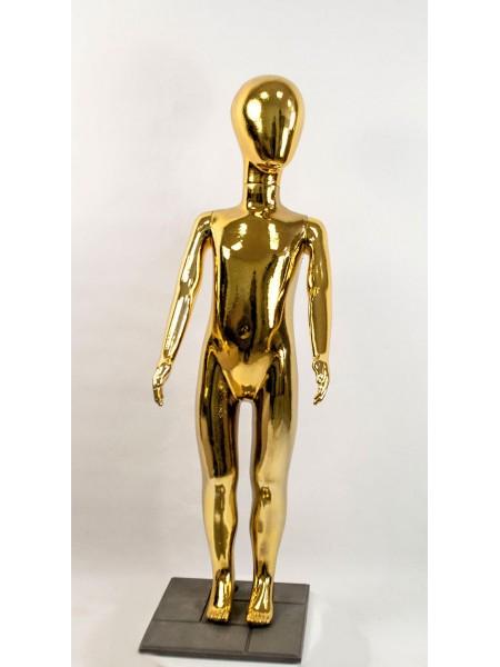 Манекен детский пластиковый безликий в полный рост металлизированный (золото) 120 см