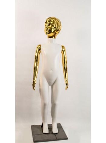 Манекен детский пластиковый девочка в полный рост белый с блестящими руками и головой (золото) 120 см