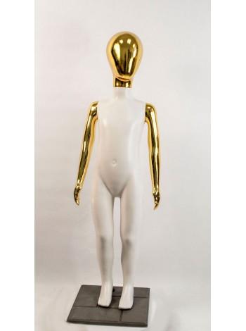 Манекен детский пластиковый безликий в полный рост белый с металлизированными руками и головой (золото) 120 см