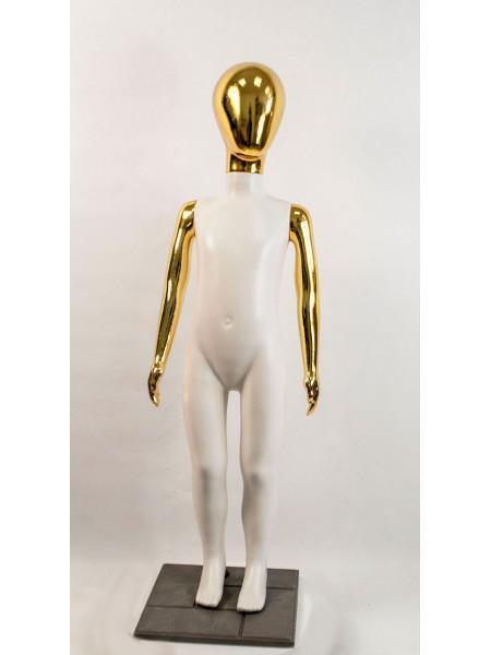Манекен детский пластиковый безликий в полный рост белый с зеркальными руками и головой (золото) 120 см