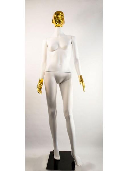 Манекен женский Сиваян белый с металлизированными кистями и головой ВГ (золото)