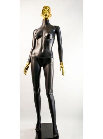 Манекен женский Сиваян черный с металлизированными кистями и головой ВГ (золото)