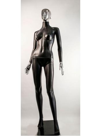 Манекен женский Сиваян черный с металлизированными кистями и головой Аватар (платина)
