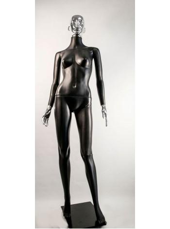 Манекен женский Сиваян черный с металлизированными кистями и головой ВГ (платина)