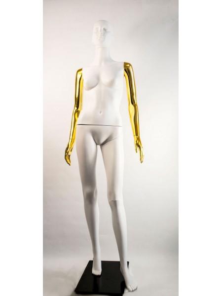 Манекен женский Сиваян белый с металлизированными руками  ВГ (золото)