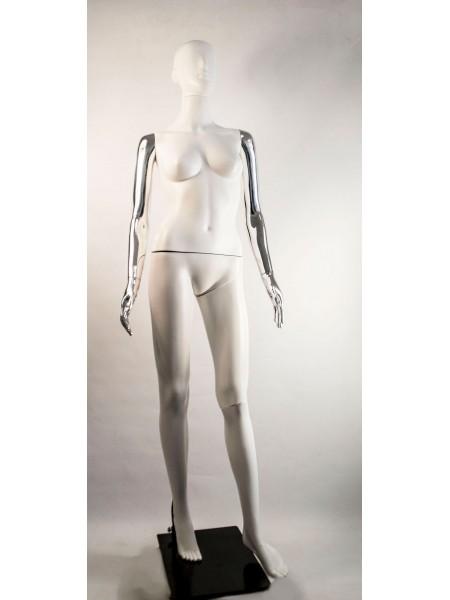 Манекен женский Сиваян белый с металлизированными руками  Аватар-2 (платина)