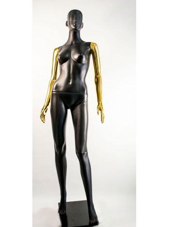 Манекен женский Сиваян черный с металлизированными руками  Аватар (золото)