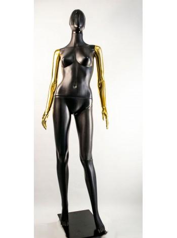 Манекен женский Сиваян черный с металлизированными руками  Аватар-2 (золото)