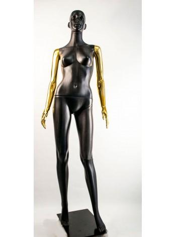 Манекен женский Сиваян черный с металлизированными руками  ВГ (золото)