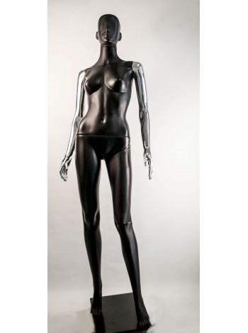 Манекен женский Сиваян черный с металлизированными руками  Аватар (платина)