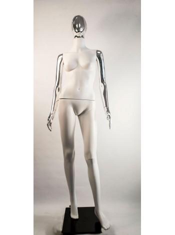Манекен женский Сиваян белый с металлизированными руками и головой Аватар-2 (платина)