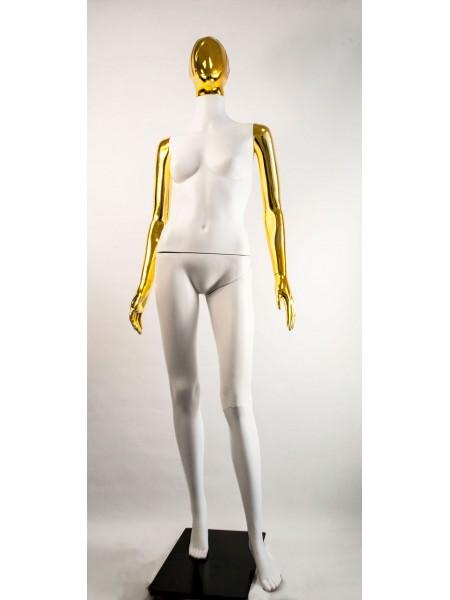 Манекен женский Сиваян белый с металлизированными руками и головой Аватар-2 (золото)