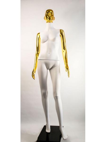 Манекен женский Сиваян белый с металлизированными руками и головой ВГ (золото)