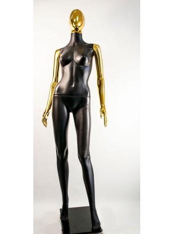 Манекен женский Сиваян черный с металлизированными руками и головой Аватар-2 (золото)