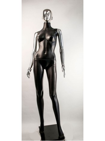 Манекен женский Сиваян черный с хромированными руками и головой Аватар (платина)