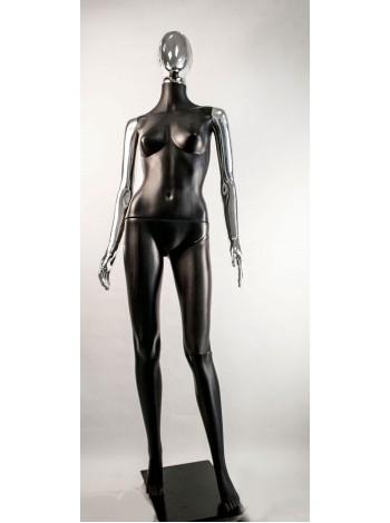 Манекен женский Сиваян черный с металлизированными руками и головой Аватар-2 (платина)