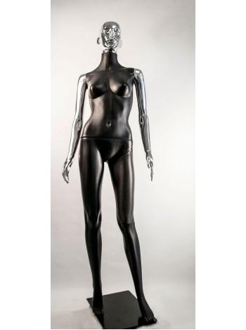 Манекен женский Сиваян черный с металлизированными руками и головой ВГ (платина)