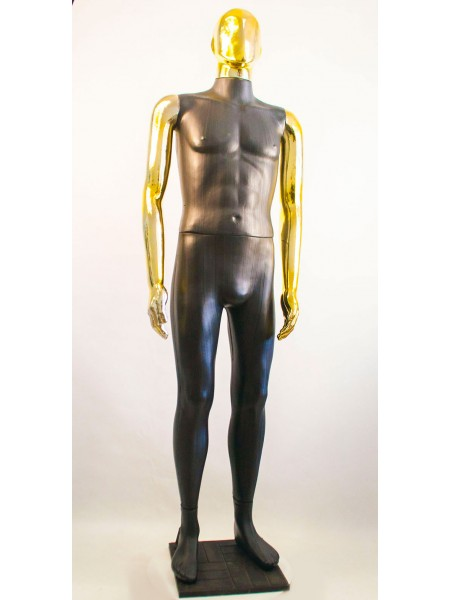 Манекен мужской Сенсей Аватар черный с блестящими руками  (золото)