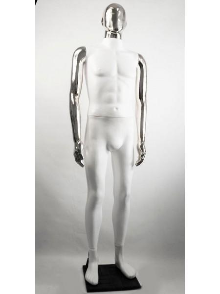 Манекен мужской Сенсей Аватар белый с хромированными руками  (платина)