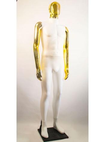 Манекен мужской Сенсей Аватар белый с глянцевыми руками  (золото)
