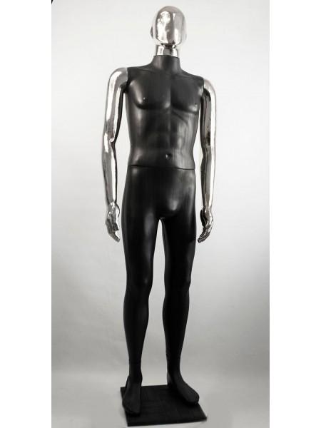 Манекен мужской Сенсей Аватар черный с зеркальными руками  (платина)