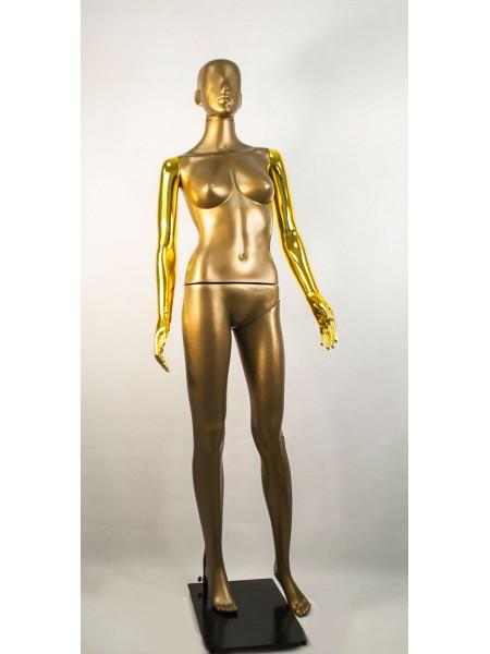 Манекен женский Сиваян бронзовый с металлизированными руками  Аватар (золото)