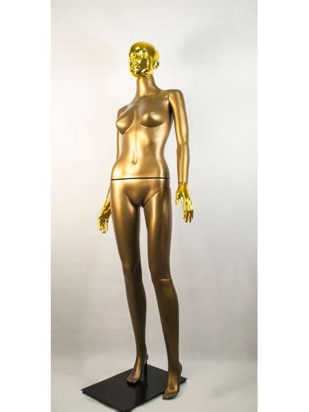 Манекен женский Сиваян бронзовый с металлизированными кистями и головой ВГ (золото)
