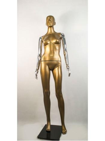 Манекен женский Сиваян бронзовый с хромированными руками  Аватар (платина)