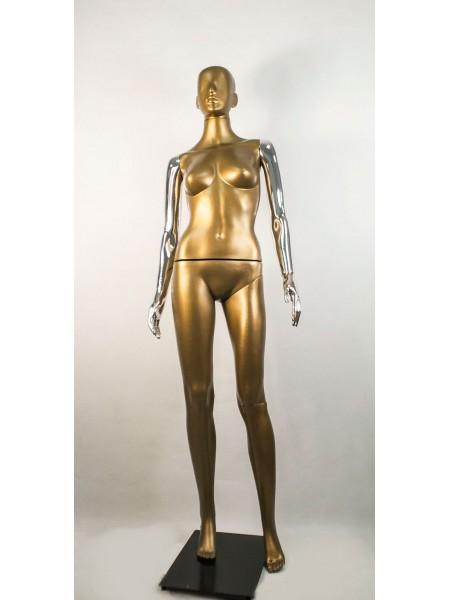 Манекен женский Сиваян бронзовый с металлизированными руками  Аватар (платина)