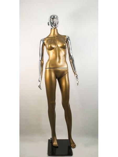 Манекен женский Сиваян бронзовый с металлизированными руками и головой ВГ (платина)