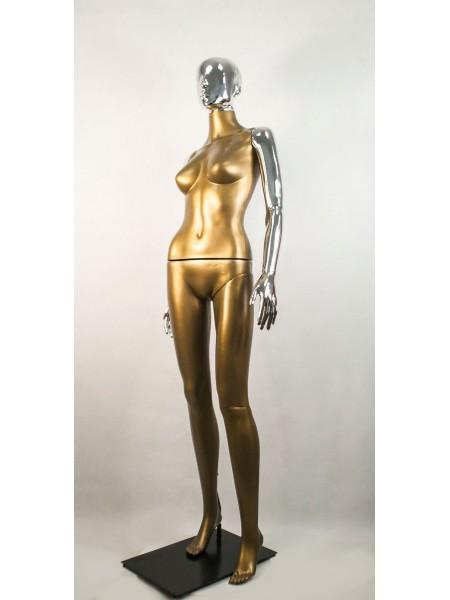 Манекен женский Сиваян бронзовый с металлизированными руками и головой Аватар (платина)