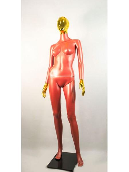 Манекен женский Сиваян терракотовый с металлизированными кистями и головой Аватар-2 (золото)
