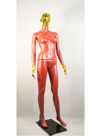 Манекен женский Сиваян терракотовый с блестящим покрытием кистей и головы ВГ (золото)
