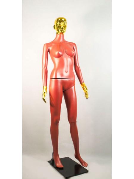 Манекен женский Сиваян терракотовый с металлизированными кистями и головой ВГ (золото)