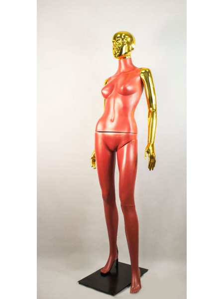 Манекен женский Сиваян терракотовый с блестящими руками и головой ВГ (золото)