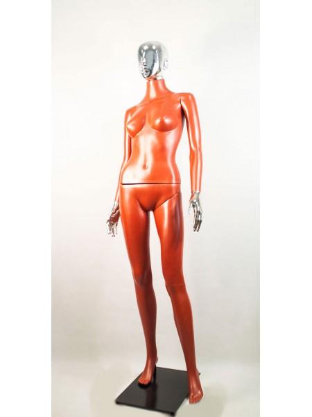 Манекен женский Сиваян терракотовый с металлизированными кистями и головой Аватар (платина)