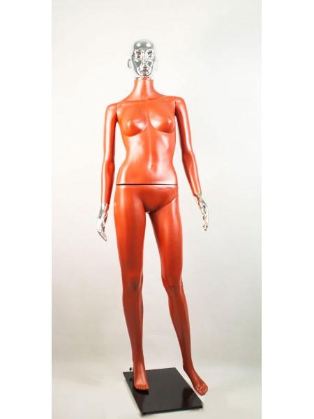 Манекен женский Сиваян терракотовый с металлизированными кистями и головой ВГ (платина)