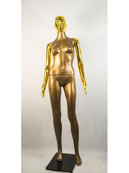 Манекен женский Сиваян бронзовый с металлизированными руками и головой ВГ (золото)