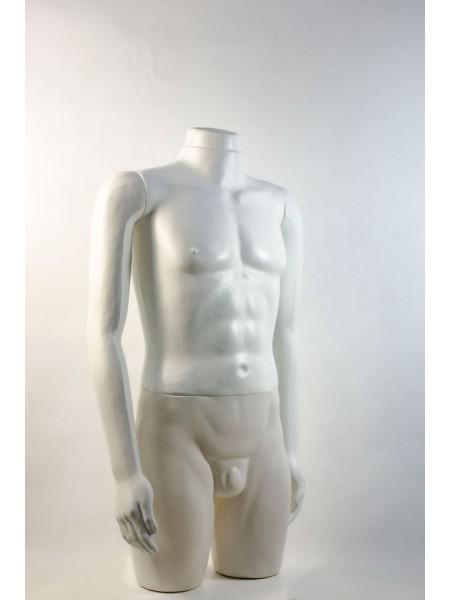 """Манекен мужской витринный укороченный """"Сенсей"""" белый без головы"""
