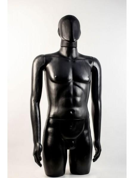 """Манекен мужской витринный укороченный """"Сенсей"""" безликий, черного цвета."""