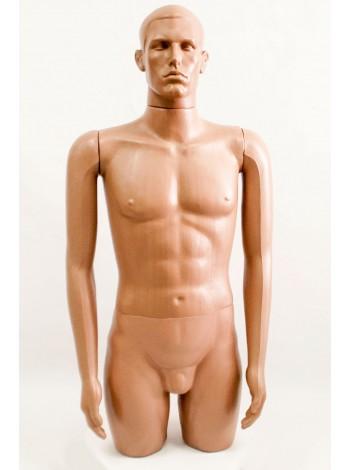 """Манекен мужской витринный укороченный """"Сенсей"""" с лицом, телесного цвета."""